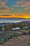 Sun setting off west end of Channel Island Stock Photography