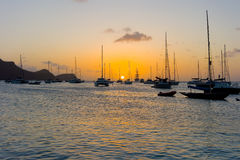 The sun setting over admiralty bay in the grenadines Royalty Free Stock Images