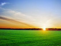Sun setting over a beautiful landscape Royalty Free Stock Image