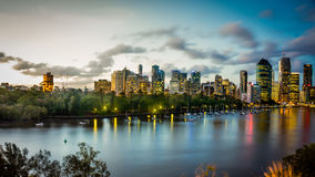 Sun setting over Brisbane River Australia - HDR Royalty Free Stock Image