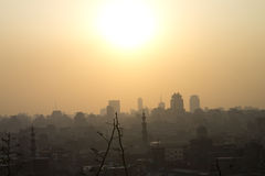 Sun setting over Cairo Royalty Free Stock Images