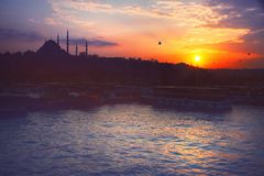 A romantic sunset in Istanbul, the historical metropolis in Bosporus. Royalty Free Stock Photography