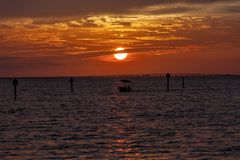 Sun Setting Over the Gulf of Mexico stock image