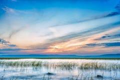 Sun setting over Hawassa Lake Royalty Free Stock Photos