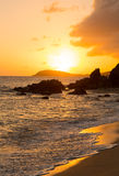 Sunset off coast of St Thomas Royalty Free Stock Photo