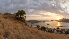 Sun setting over Komodo National Park Royalty Free Stock Photos