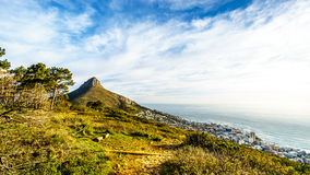 Sun setting over Lions Head and Camps Bay Royalty Free Stock Image
