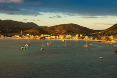 Sun Setting over St. Maarten Stock Photos