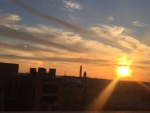 Sun setting over the United States Capitol on a clear day Royalty Free Stock Photography
