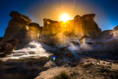 Sun setting over the Wahweap Hoodoos near Kanab Royalty Free Stock Images