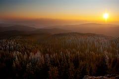 Sun setting panorama Royalty Free Stock Photo