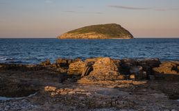 Sun setting on Puffin Island, North Wales Stock Image