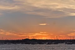 Sun Setting on San Diego Bay Royalty Free Stock Photography