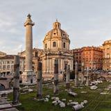 Sun setting on Trajans column Rome Royalty Free Stock Images