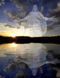 Sun Setting With Jesus Stock Photo
