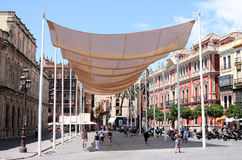 Sun shade. To protect citizens from a scorching sun in Seville city, Spain. Photograph taken on June, 2012 royalty free stock photo
