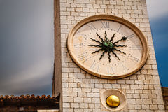Sun Shaped Clock on Bell Tower in Dubrovnik Stock Image