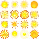 Sun shapes. Lots of different sun shapes Stock Image