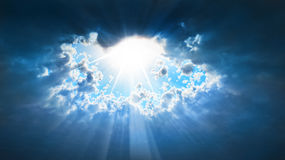 Sun shine. Clouds letting the sun shine Royalty Free Stock Photo
