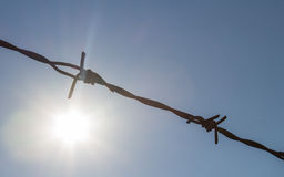Sun shine and barbed wire. Barbed wire with sunshine symbol Royalty Free Stock Image