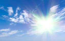 Sun shine  on blue sky Stock Images