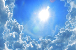 Sun shine in blue sky. Blue bright cloud cloudscape color day daylight Stock Images