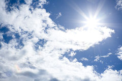 Sun shine in focus. Sun in clouds in the focus Royalty Free Stock Photography