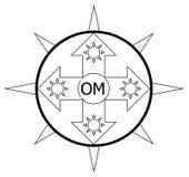 Sun shine with om word logo stock photography