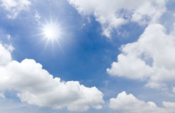 Sun shine and White cloud. In blue sky Royalty Free Stock Photos
