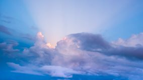 The sun shines clouds. The sun shines and fluffy clouds sky in nature Royalty Free Stock Photography