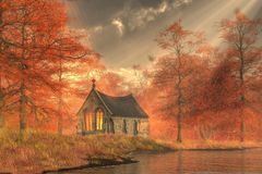 Autumn Forest Chapel vector illustration