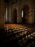 Sun shines inside an empty church Royalty Free Stock Images