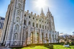 Sun Over the Temple. Sun shines over the LDS temple in Salt Lake City Utah Stock Image