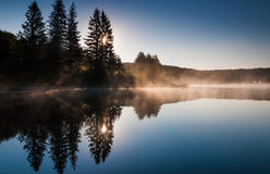 The sun shines through pine trees and fog at sunrise, at Spruce Knob Lake, West Virginia stock image