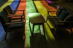 A color room. The sun shines through the stained glass into the room Stock Photo