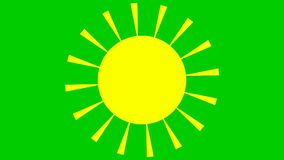 Sun is shining. Animated yellow sun isolated on green background. The sun is spinning. Looped animation.