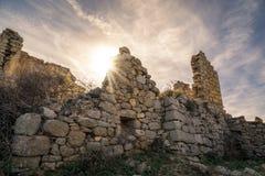 Sun shining through a derelict building at Occi in Corsica Stock Photo