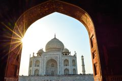 The beauty of the Taj Mahal in natural frame royalty free stock photos