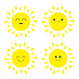 Sun shining icon set. Kawaii face with different emotions. Cute cartoon funny smiling character. Hello summer. White background. I Stock Photography