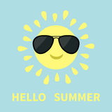 Sun shining icon. Sun face with sunglassess. Cute cartoon funny smiling character. Hello summer. White background. Isolated. Flat Stock Photos