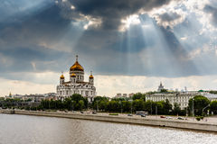 Sun Shining over Cathedral of Christ the Saviour in Moscow Royalty Free Stock Photography
