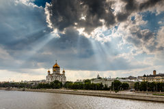 Sun Shining over Cathedral of Christ the Saviour in Moscow Stock Images