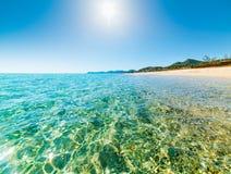 Sun shining over Costa Rei Royalty Free Stock Photo