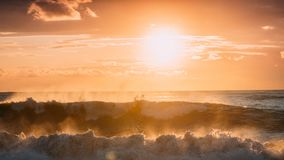 Sun Shining Over Horizon At Sunset Or Sunrise. Evening Sea. Ocea. N Waves In Warm Colors Sunset Sunrise Sky Lights. Natural Sky Stock Photography