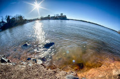 Sun shining over lake wylie Royalty Free Stock Image