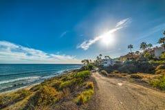 Sun shining over Malibu shoreline. California, Italy Royalty Free Stock Image
