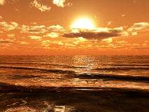 Sun shining over ocean waves. Royalty Free Stock Photos