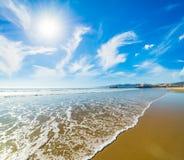 Sun shining over Santa Monica beach. California, USA Royalty Free Stock Photo