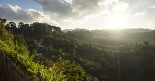 Sun shining over the valley of Kalaw Stock Images