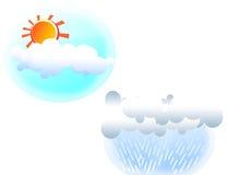 Sun shining and rained illustrations. Red sun shining and rained colored illustrations royalty free illustration